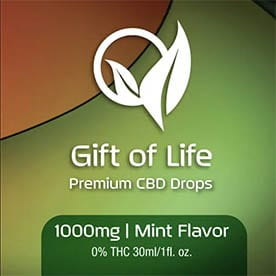 gift of life 1000mg mint flavored cbd product and homeostatic remedy for those in chronic to servere pain
